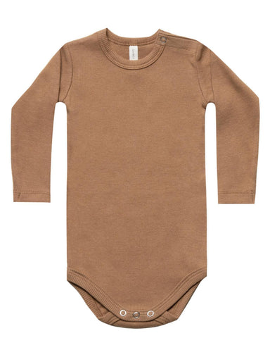 Little quincy mae baby girl nb ribbed longsleeve onesie in copper