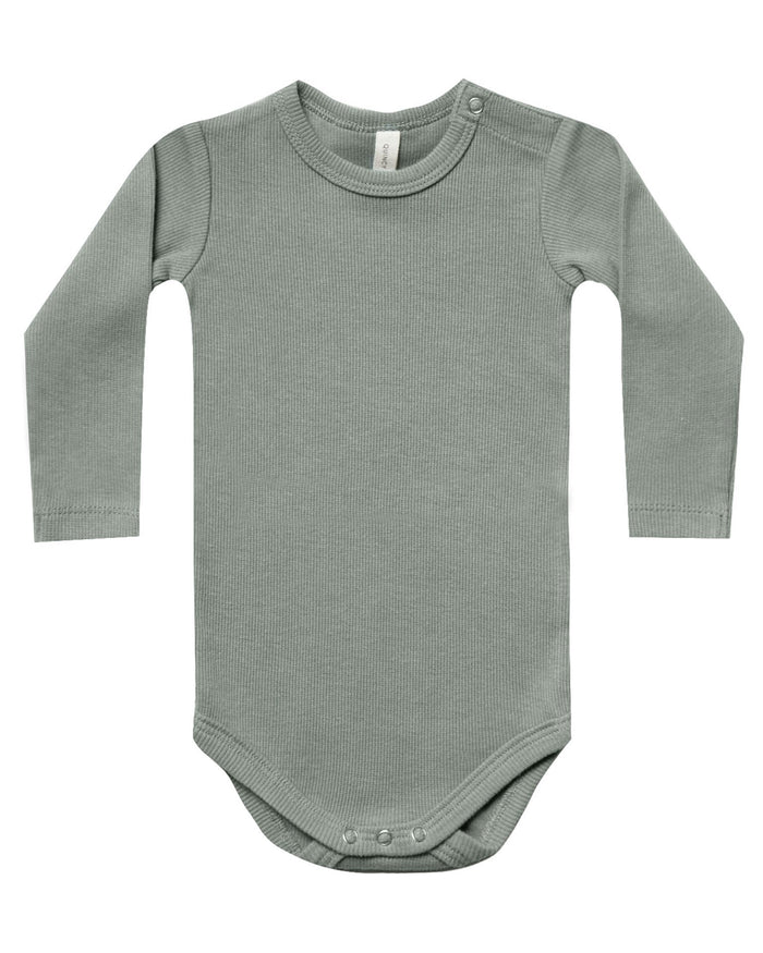 Little quincy mae baby girl ribbed longsleeve onesie in eucalyptus