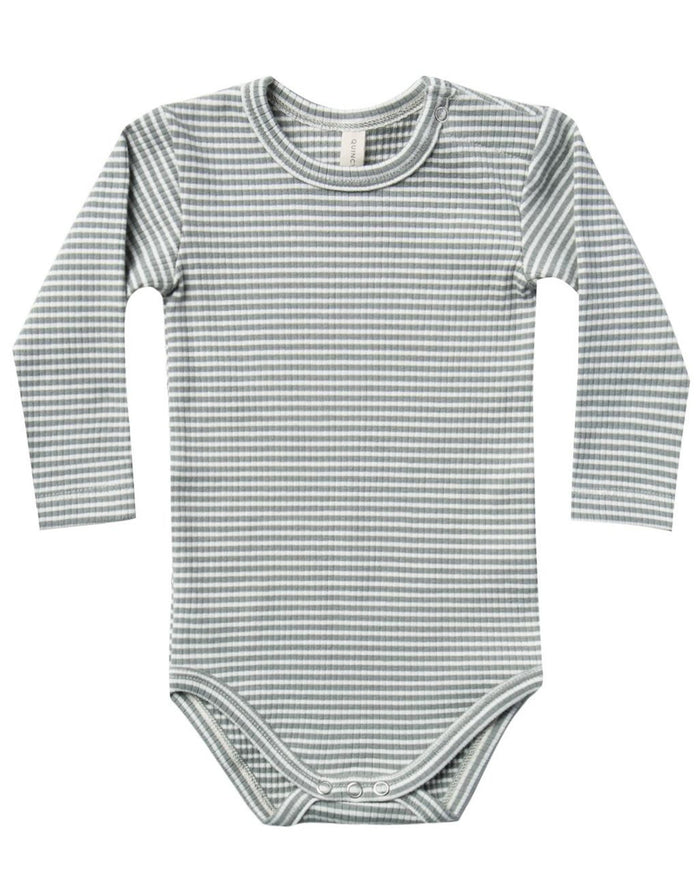 Little quincy mae baby girl ribbed longsleeve onesie in eucalyptus stripe