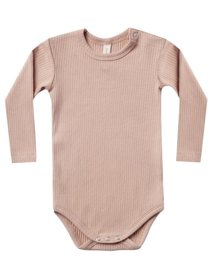 Little quincy mae baby girl ribbed longsleeve onesie in petal