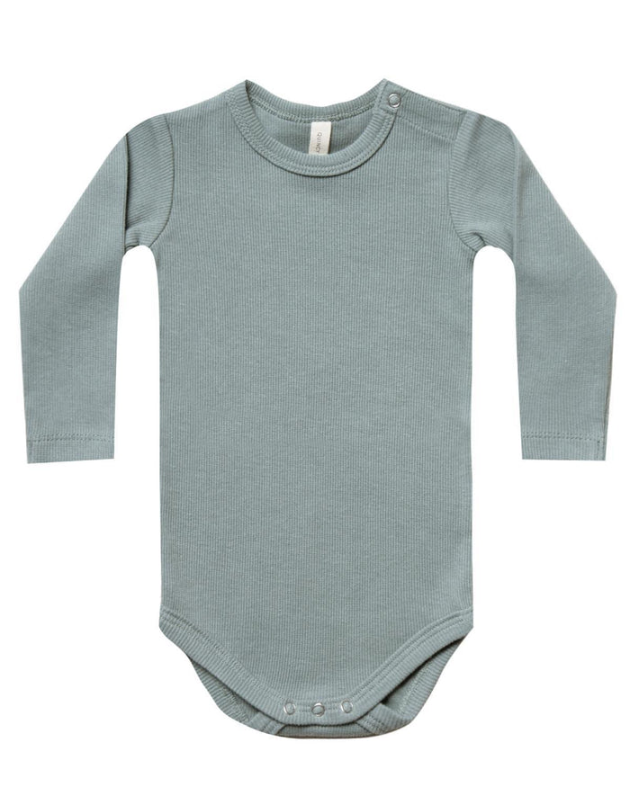 Little quincy mae baby girl nb ribbed longsleeve onesie in sea