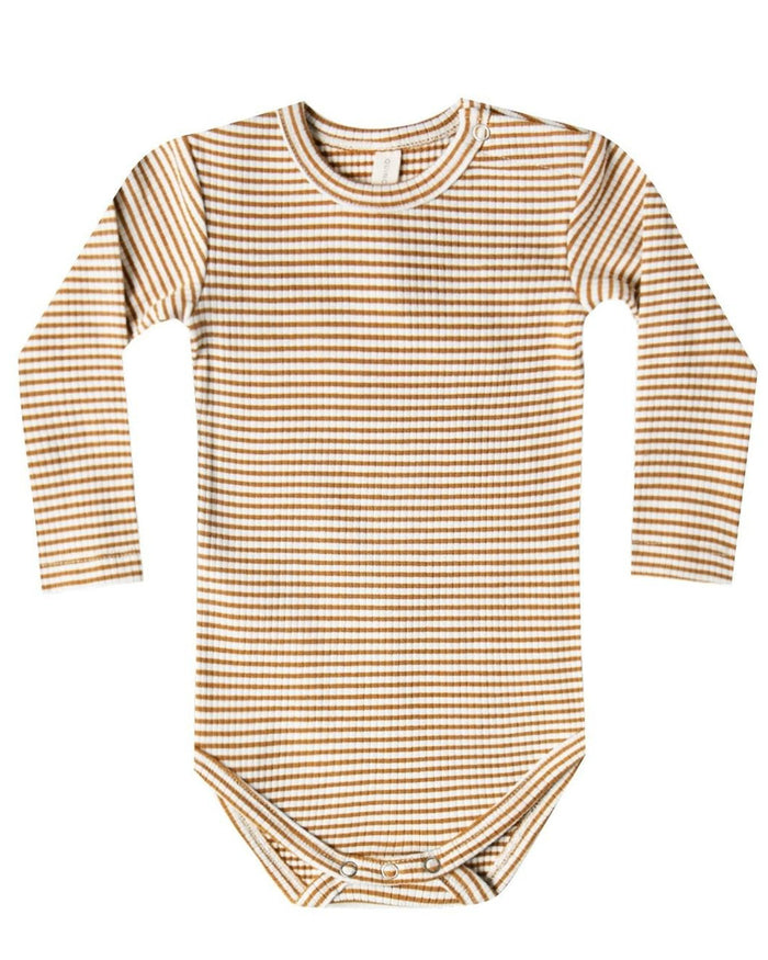 Little quincy mae baby girl ribbed longsleeve onesie in walnut stripe