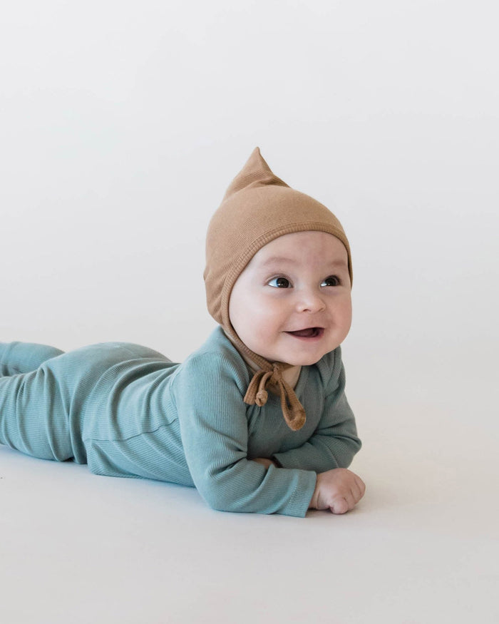 Little quincy mae baby accessories 0-3 ribbed pixie bonnet in copper