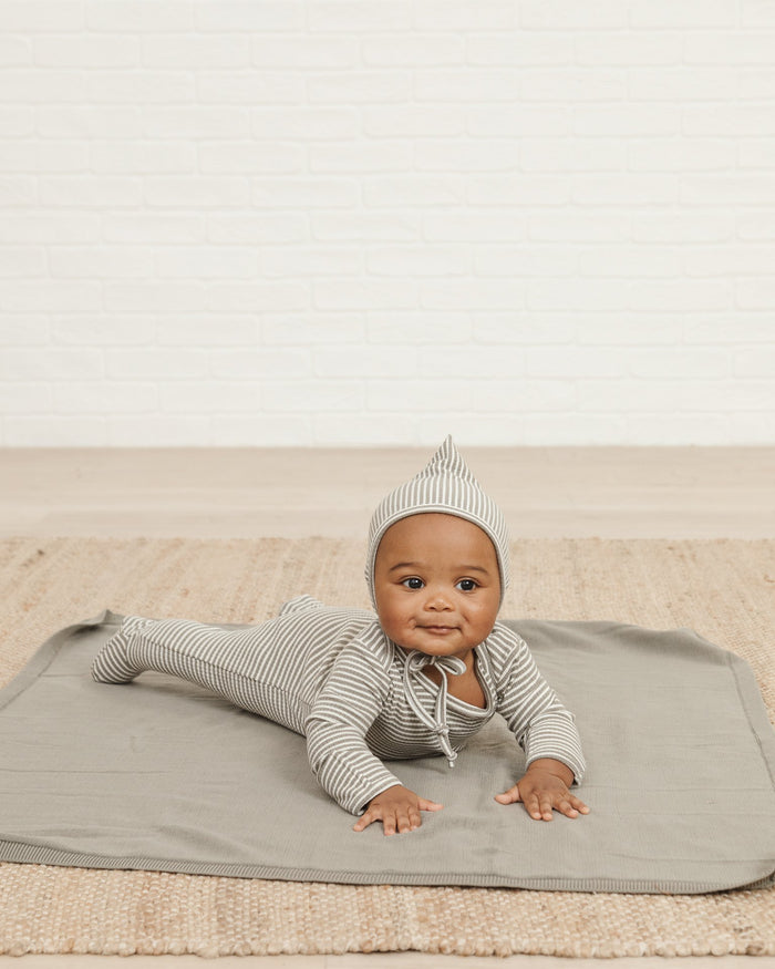 Little quincy mae baby accessories ribbed pixie bonnet in eucalyptus stripe