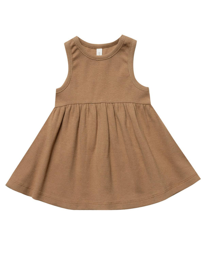 Little quincy mae baby girl 0-3 ribbed tank dress in copper
