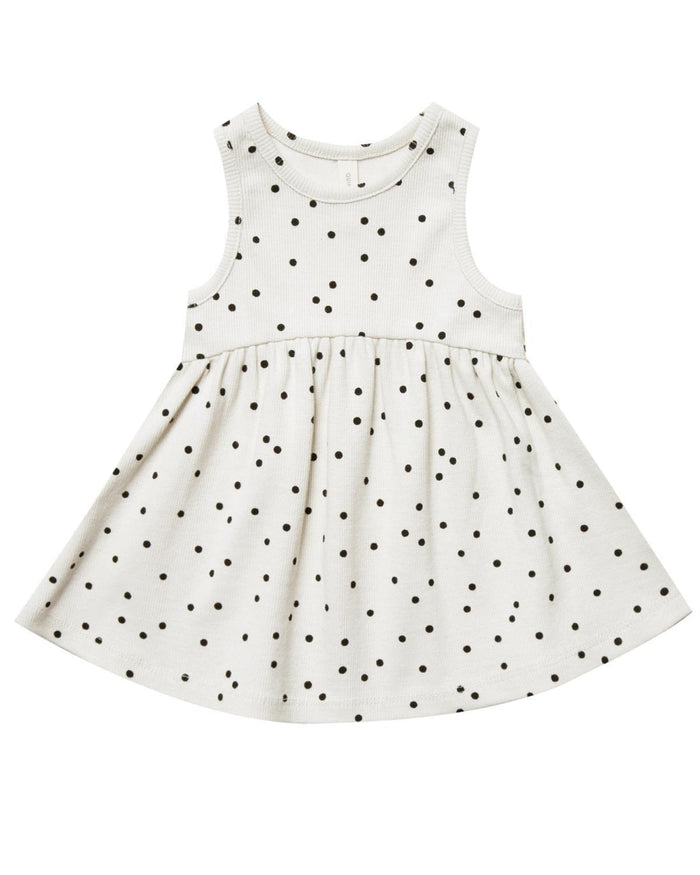 Little quincy mae baby girl 0-3 ribbed tank dress in pebble