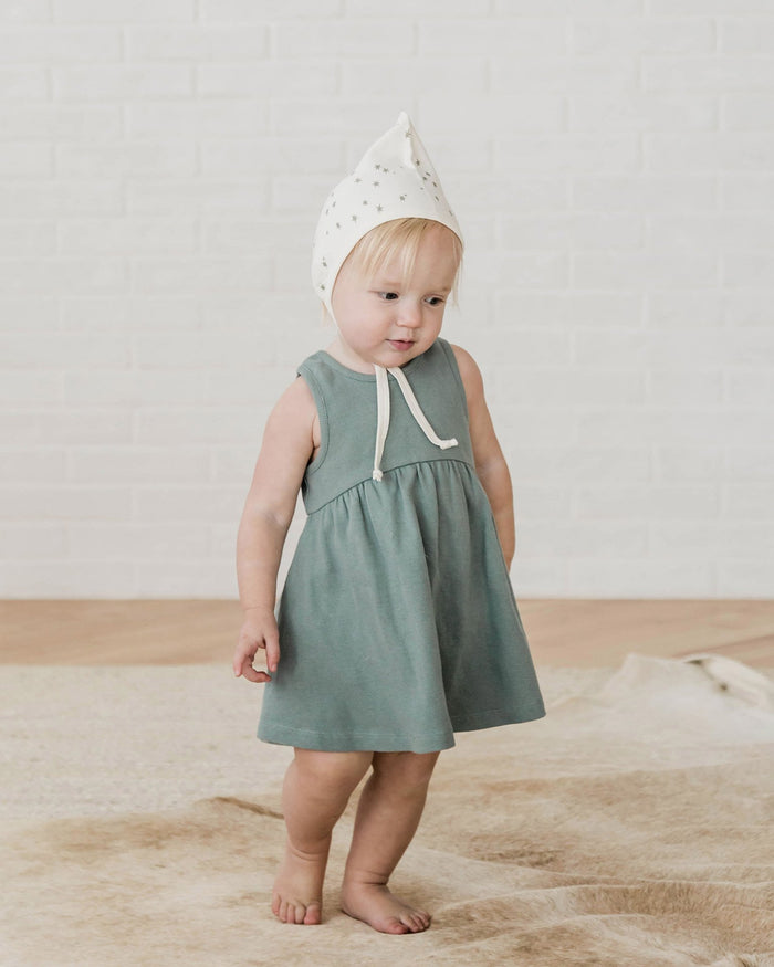 Little quincy mae baby girl 0-3 ribbed tank dress in sea