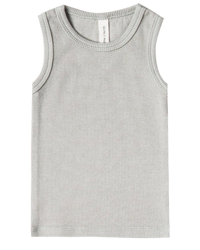 Little quincy mae baby girl 0-3 ribbed tank in ash