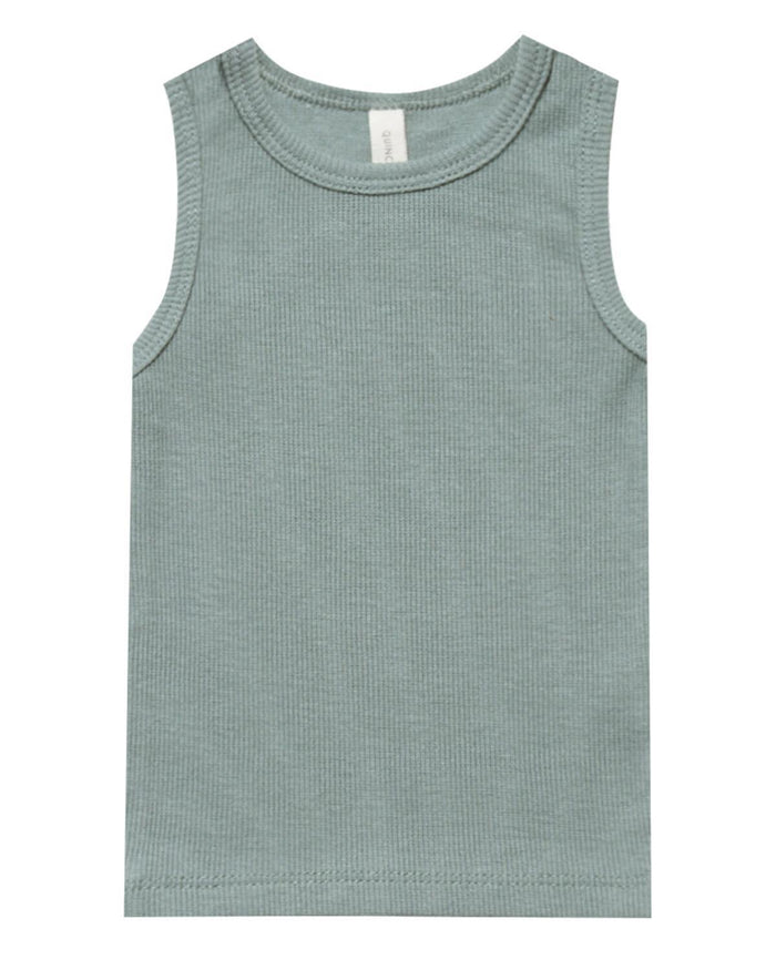 Little quincy mae baby girl 0-3 ribbed tank in sea
