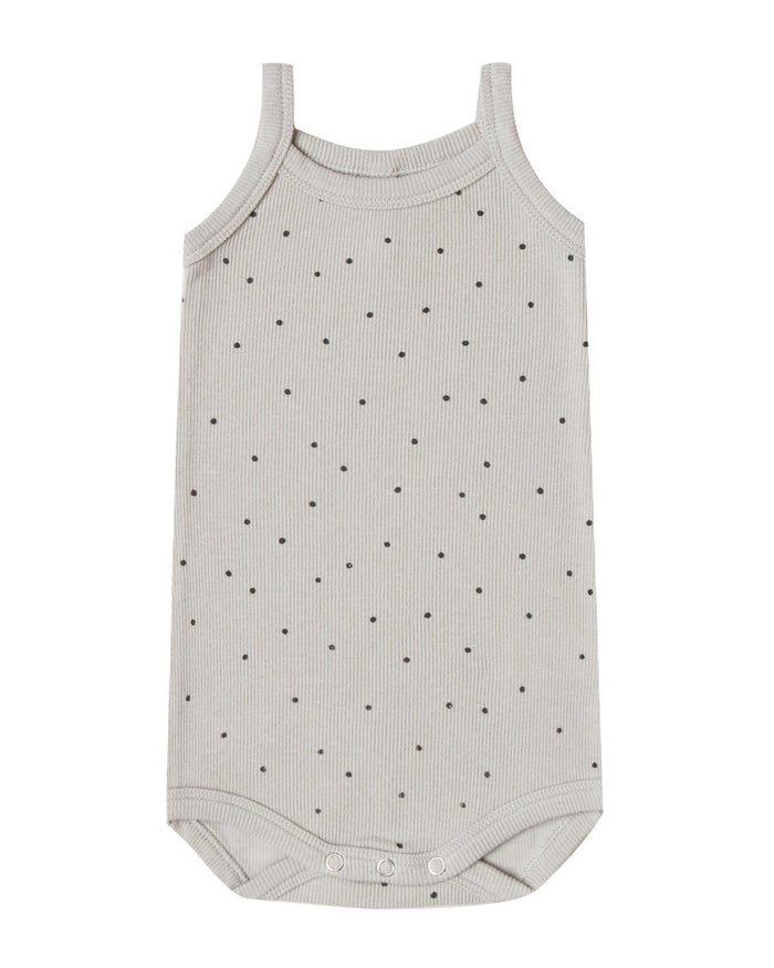 Little quincy mae baby girl 0-3 ribbed tank onesie in dove