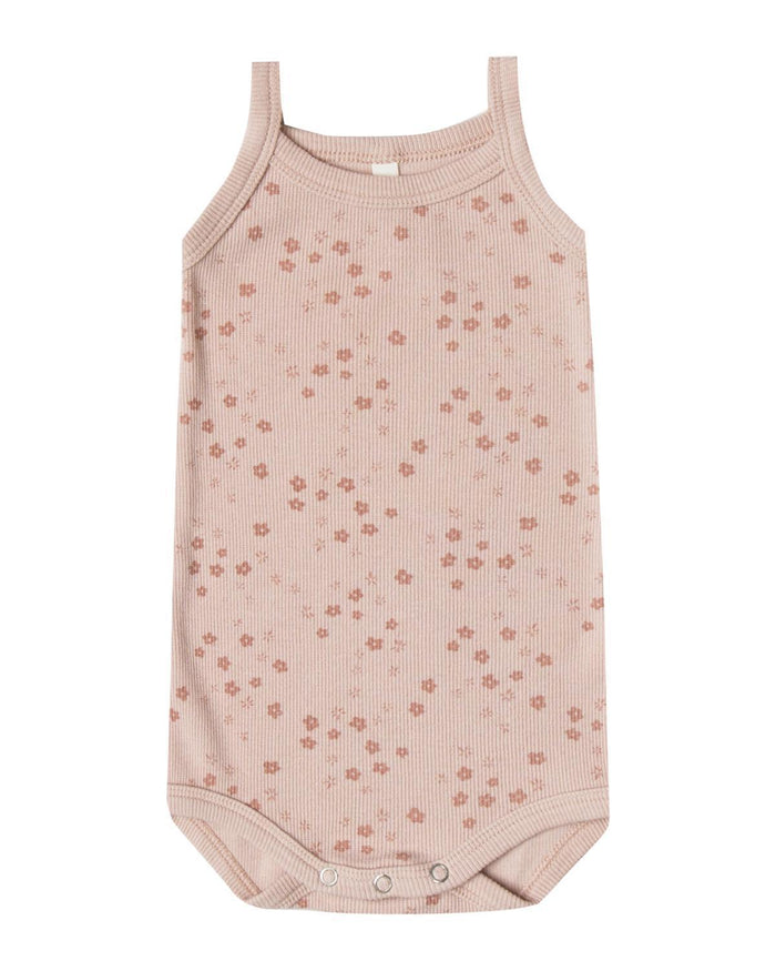 Little quincy mae baby girl 0-3 ribbed tank onesie in rose