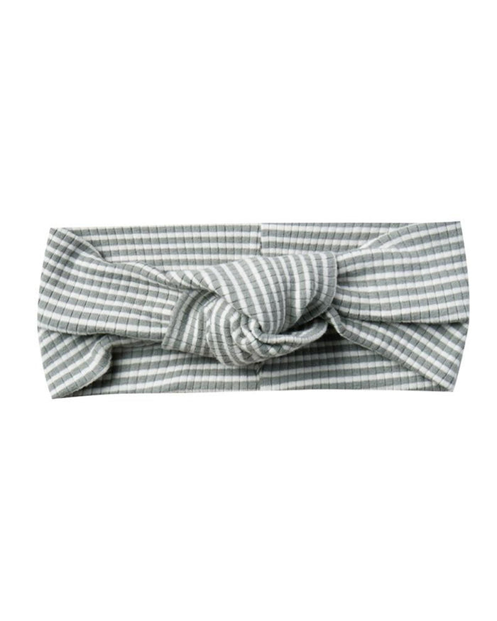 Little quincy mae baby accessories ribbed turban in eucalyptus stripe