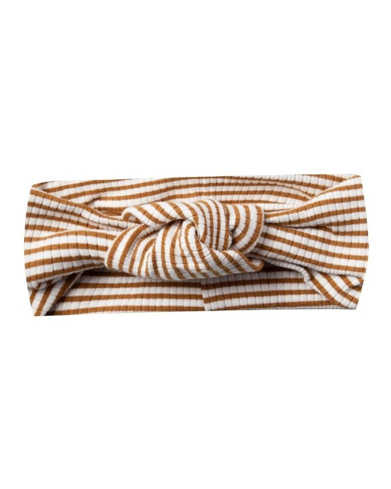 Little quincy mae baby accessories ribbed turban in walnut stripe