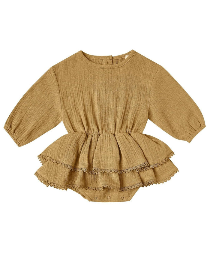 Little quincy mae baby girl rosie romper in ocre
