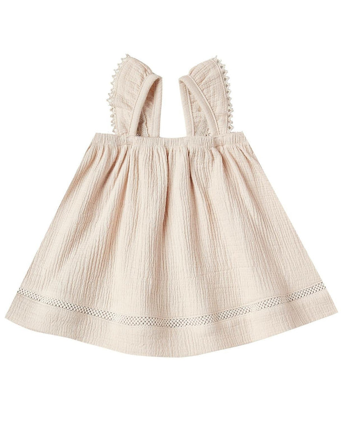 Little quincy mae baby girl ruffled tube dress in natural