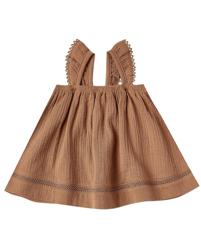 Little quincy mae baby girl ruffled tube dress in rust