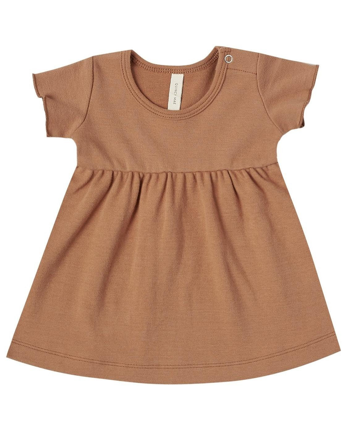 Little quincy mae baby girl short sleeve baby dress in rust