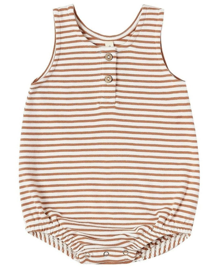 Little quincy mae baby girl sleeveless bubble rust stripe