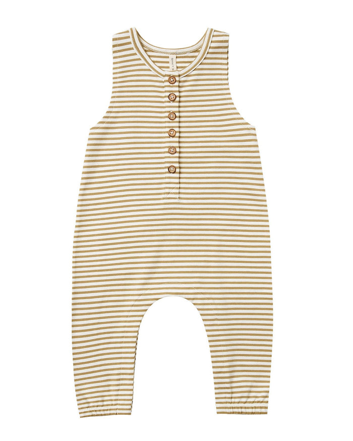Little quincy mae baby girl sleeveless jumpsuit in gold stripe