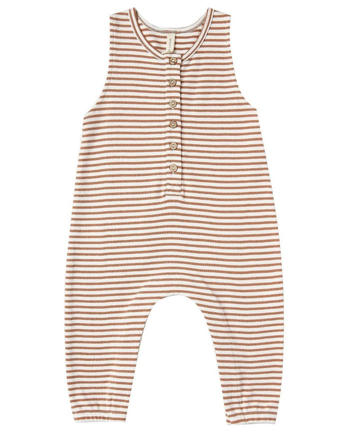 Little quincy mae baby girl sleeveless jumpsuit in rust stripe