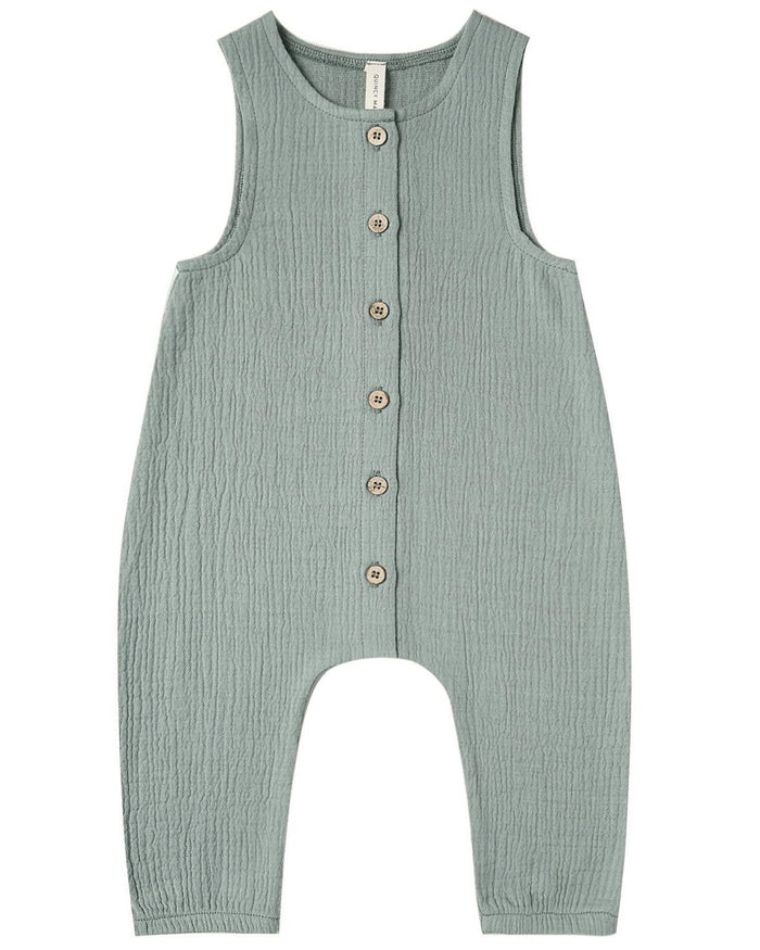 Little quincy mae baby girl woven button jumpsuit in ocean