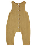 Little quincy mae baby girl woven button jumpsuit in ocre