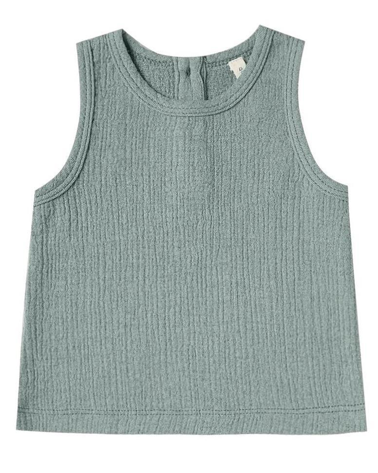 Little quincy mae baby girl woven tank in ocean