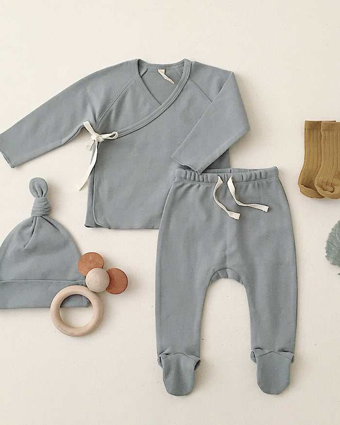Little quincy mae baby girl wrap top + pant set in ocean
