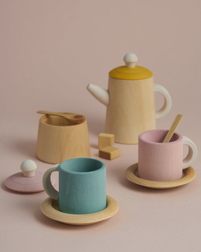 Little raduga grez play tea set in mustard + pink