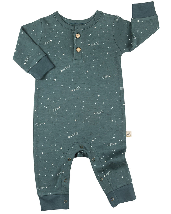 Little red caribou layette bright stars basic jumpsuit in balsam