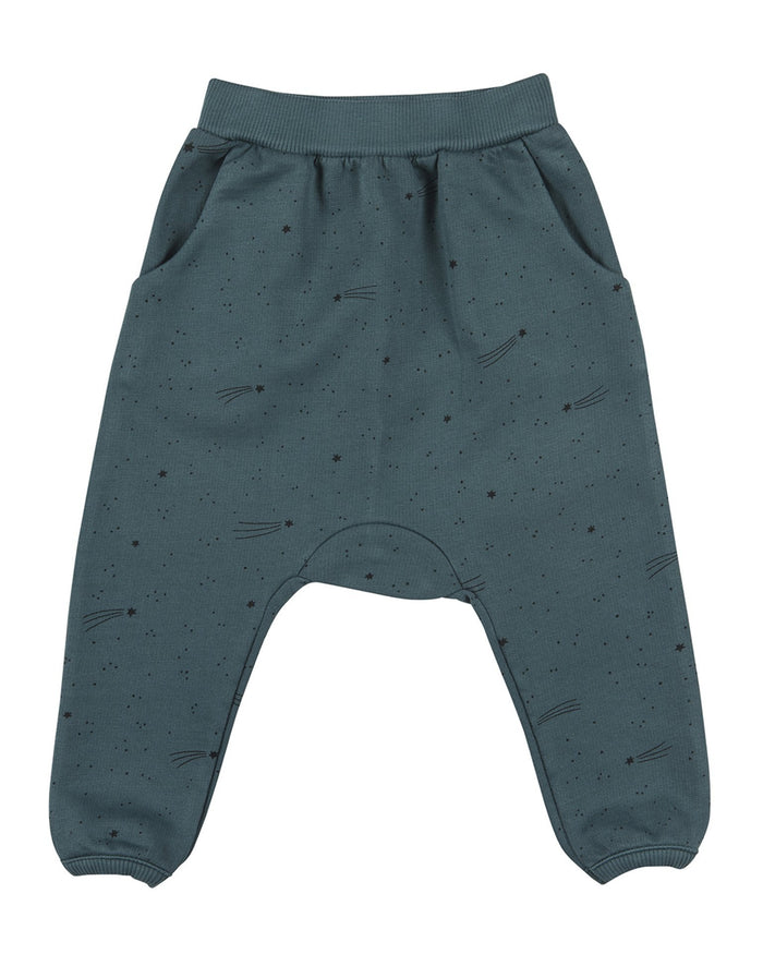 Little red caribou baby boy bright stars french terry jogger in balsam