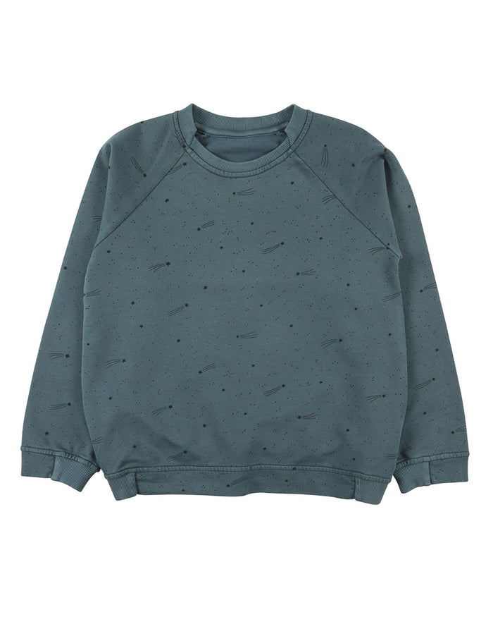 Little red caribou girl bright stars sweatshirt in balsam