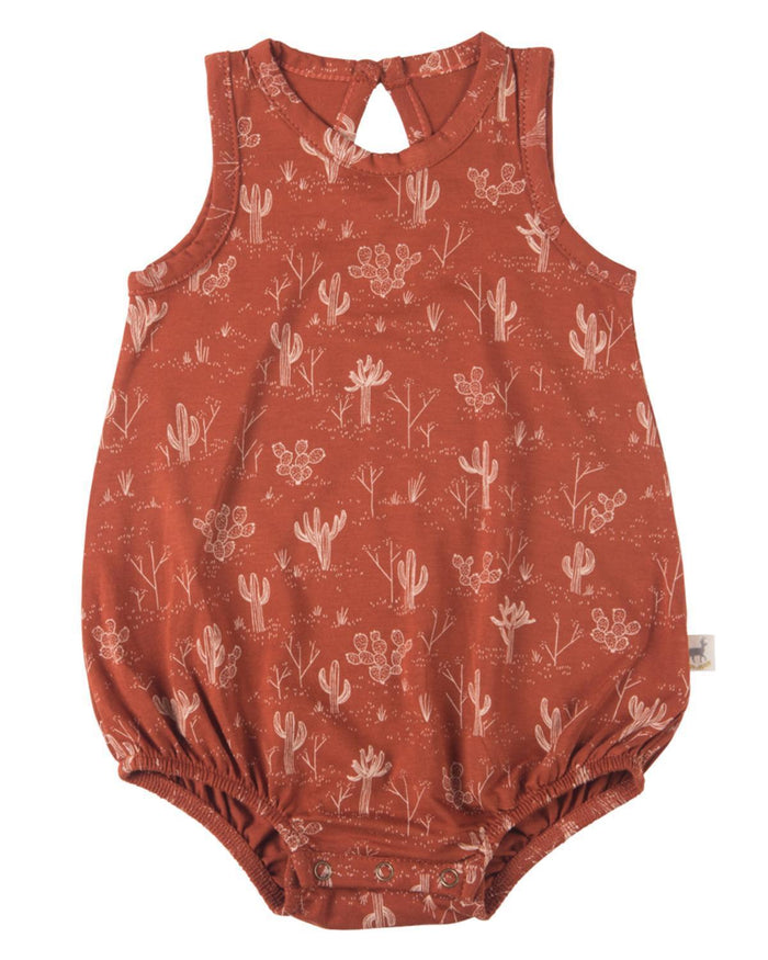 Little red caribou baby girl 0-3 cacti garden baggy onesie in picante