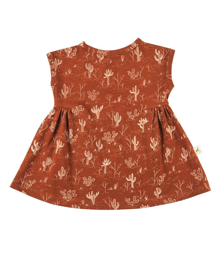 Little red caribou baby girl 0-3 cacti garden jersey dress in picante