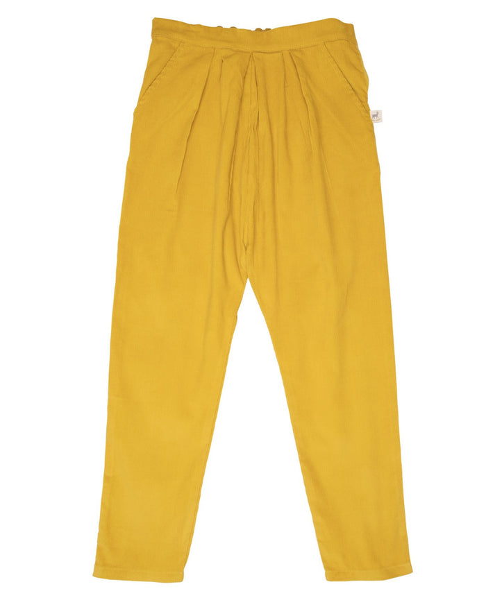 Little red caribou girl corduroy trousers in mustard