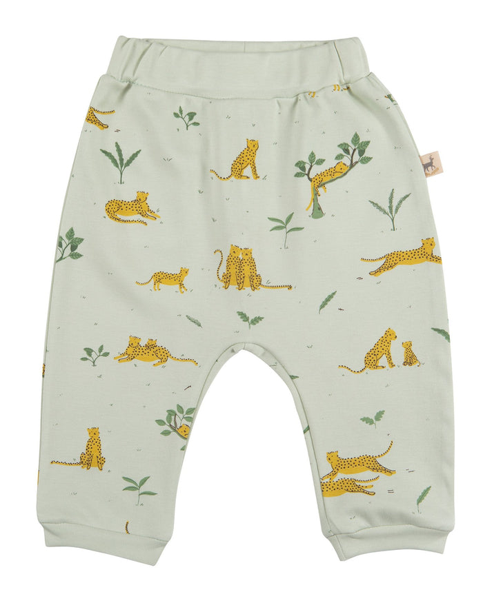 Little red caribou baby girl hidden ocelot baggy pants in almost aqua