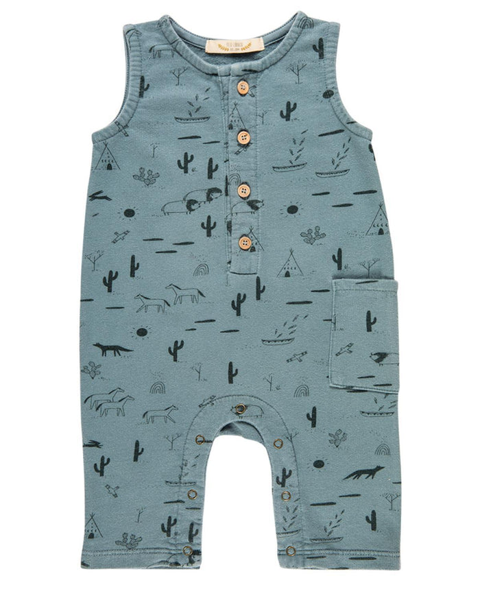 Little red caribou baby boy 0-3 native desert terry romper in lead