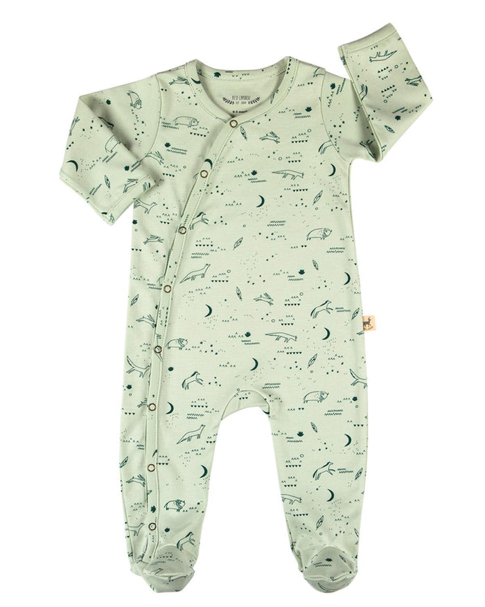 Little red caribou baby boy 0-3 nocturnal adventure kimono jumpsuit in green lily