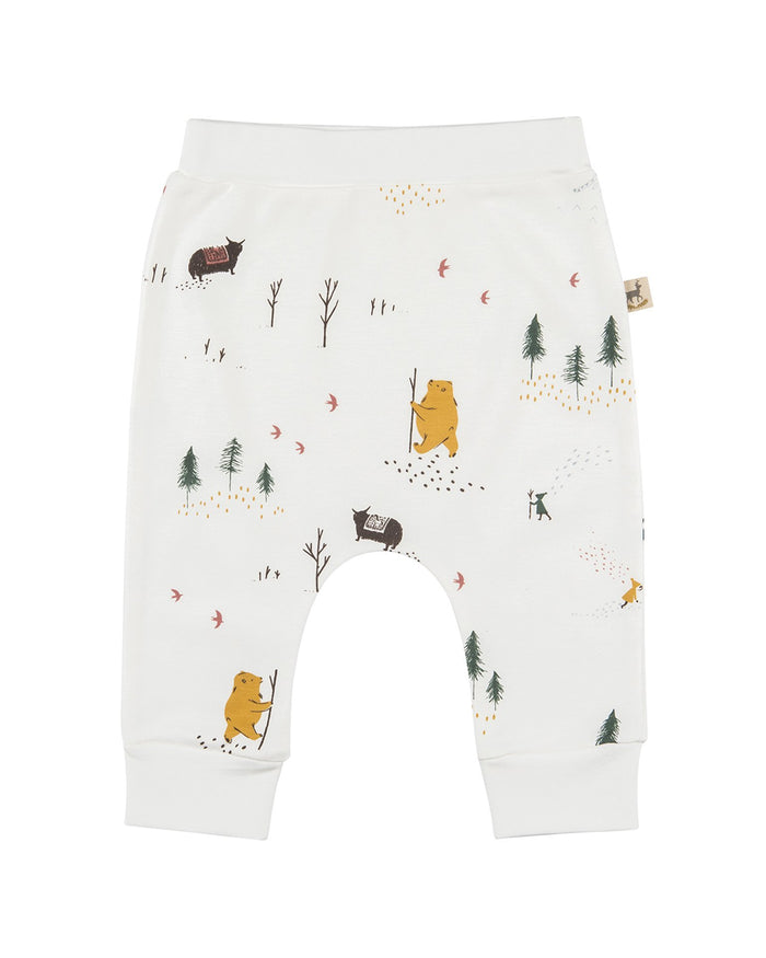 Little red caribou layette organic baggy pants in up the mountain