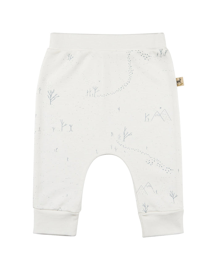 Little red caribou layette organic baggy pants in yeti tracks