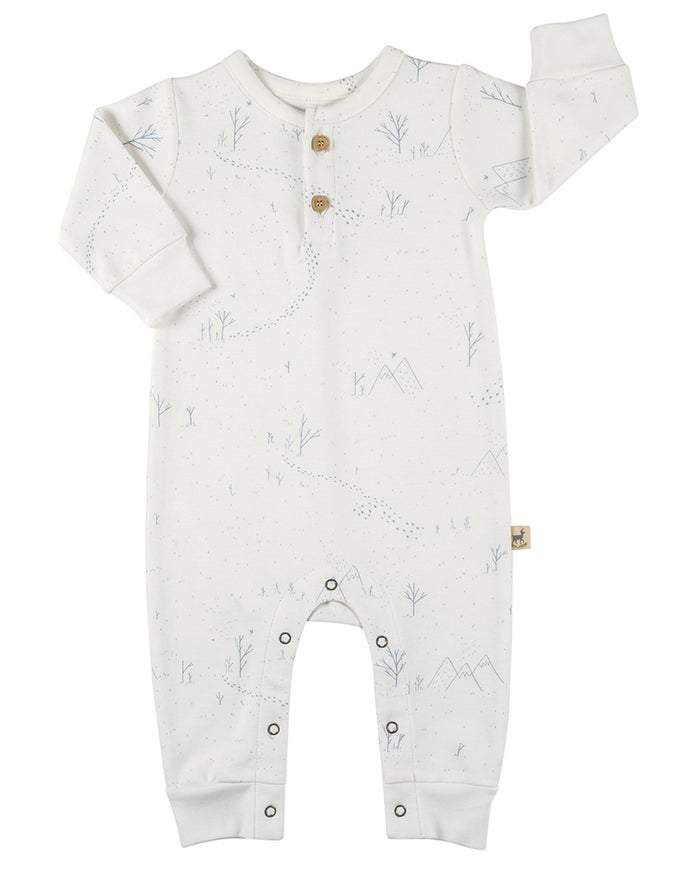 Little red caribou layette organic basic jumpsuit in yeti tracks