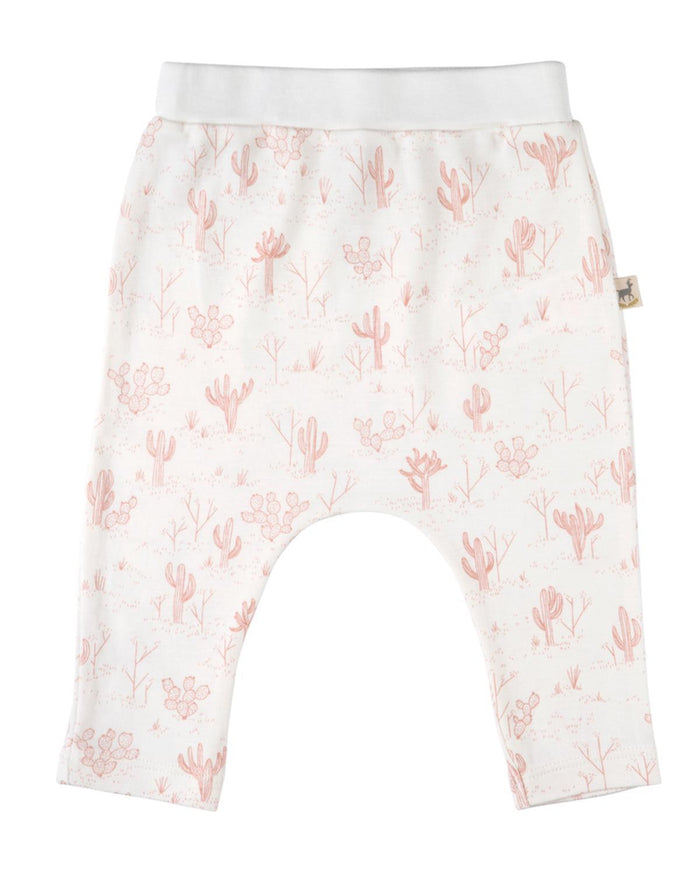Little red caribou layette 0-3 organic basic pants in cacti garden