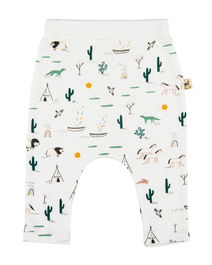 Little red caribou layette 0-3 organic basic pants in native desert