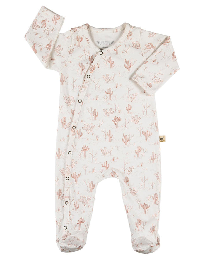 Little red caribou layette 0-3 organic kimono jumpsuit in cacti garden