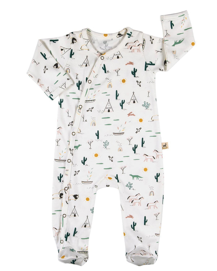 Little red caribou baby boy 0-3 organic kimono jumpsuit in native desert