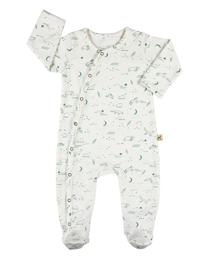 Little red caribou layette 0-3 organic kimono jumpsuit in nocturnal adventure