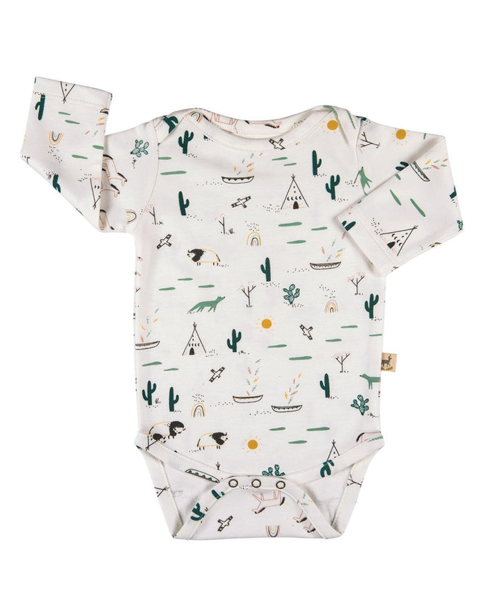 Little red caribou layette 0-3 organic onesie in native desert