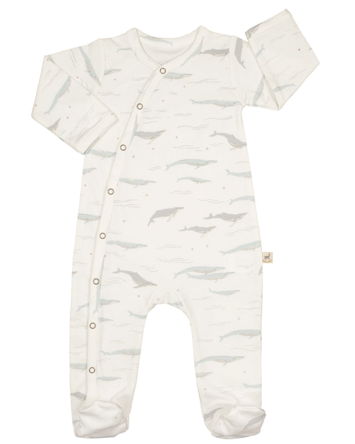 Little red caribou layette passing whales footed jumpsuit in eco white