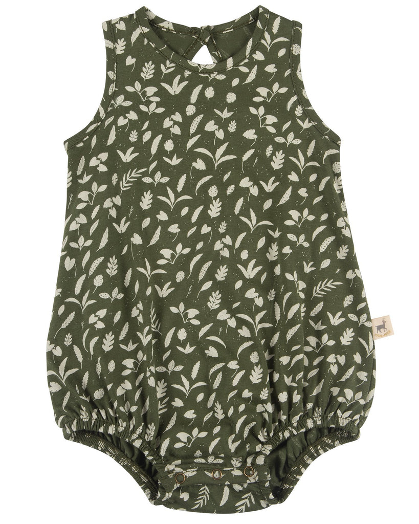 Little red caribou baby girl rainforest foliage baggy onesie in chive