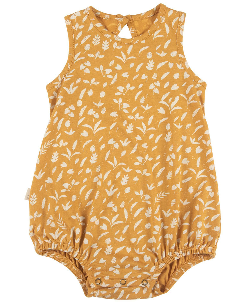 Little red caribou baby girl rainforest foliage baggy onesie in spruce yellow